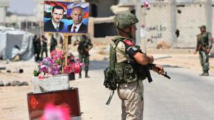 Archivo. Un punto de control en la provincia de Idlib, en manos de fuerzas sirias y rusas.