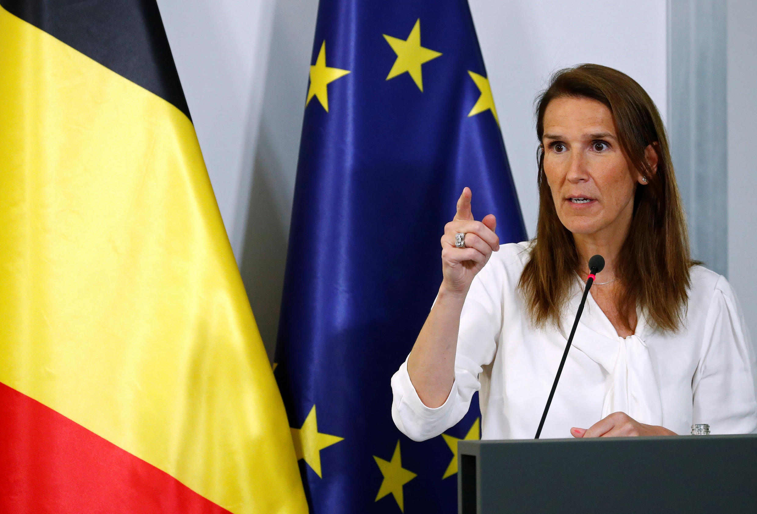 Belgium's Prime Minister Sophie Wilmes at a news conference in Brussels July 27, 2020.