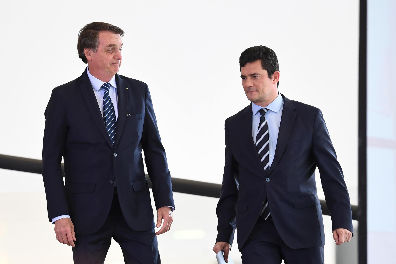 Le président brésilien Jair Bolsonaro et son ministre de la Justice, Sergio Moro, à Brasilia, le 29 août 2019.