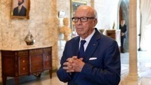 الرئيس التونسي الباجي قائد السبسي في السابع من آب/اغسطس 2017