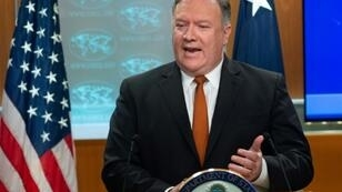 US Secretary of State Mike Pompeo speaks during a press conference at the State Department in Washington
