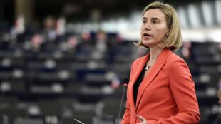 Federica Mogherini, chef de la diplomatie européenne, durant un débat sur la Syrie et la Turquie devant le Parlement européen à  à Strasbourg.