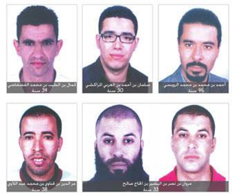 Les portraits des cinq suspects.