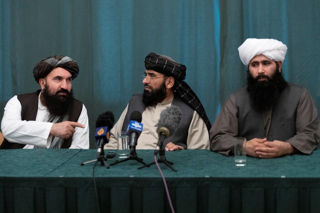 Members of the Taliban delegation: Former West Herat Governor Khairullah Khairkhwa, negotiating team member Suhail Shaheen, and Taliban political bureau spokesman Mohammad Naeem attend a joint press conference in Moscow, Russia on 19 March 2021. Alexander Zemlianichenko / Pool via REUTERS
