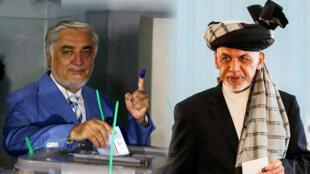 El jefe del Ejecutivo, Abdullah Abdullah (izq), y el presidente Ashraf Ghani (der), son los principales contrincantes en las elecciones de Afganistán.
