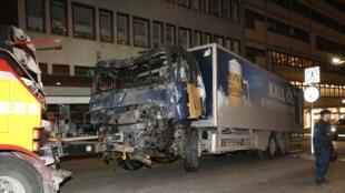 Le camion utilisé pour l'attaque de Stockholm.