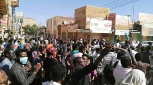 Sudanese protesters chant anti-government slogans during a demonstration in the capital Khartoum on January 6, 2019