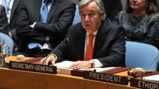 الأمين العام للأمم المتحدة أنطونيو غوتيريس متحدثا أمام مجلس الأمن الدولي في 28 سبتمبر 2017