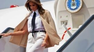 الأمريكية الأولى ميلانيا ترامب تصل إلى مطار القاهرة في 6 تشرين الأول/أكتوبر 2018