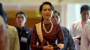 Aung San Suu Kyi, le 15 octobre 2017.