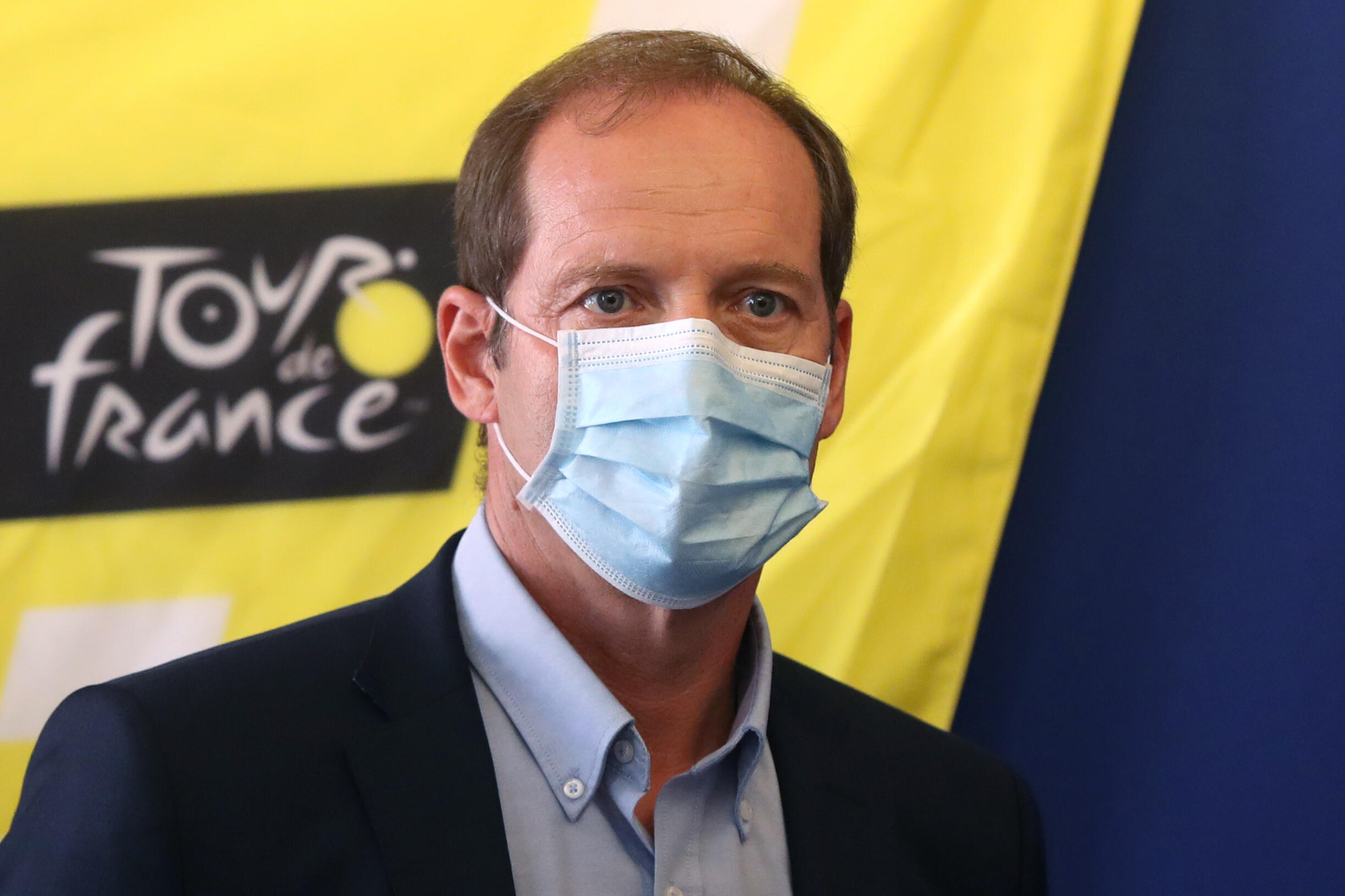 Le directeur du Tour de France Christian Prudhomme lors de la présentation des mesures sanitaires anti-Covid, le 19 août 2020 à Nice