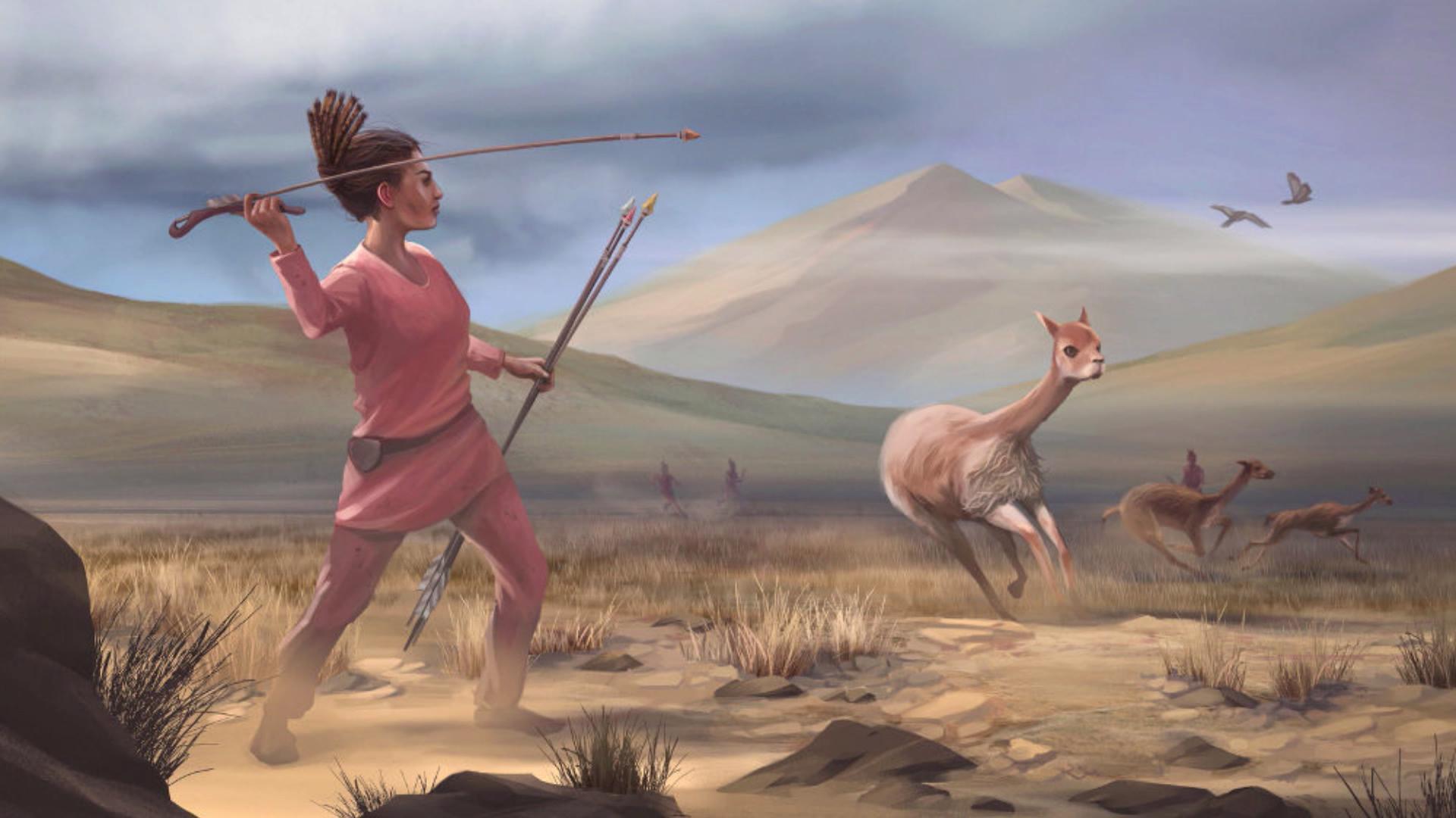 رسم تخيلي لفتاة في البيرو تصيد قبل 9000 سنة