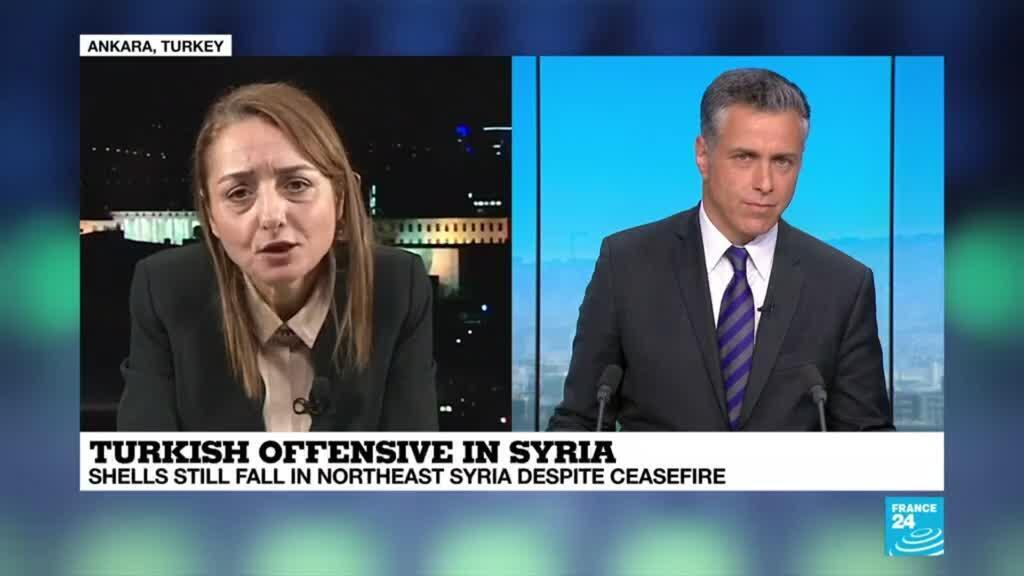 """2019-10-18 18:35 Saadet Oruc on France 24: """"If YPG and PKK do not leave, Turkey will continue the operation"""""""