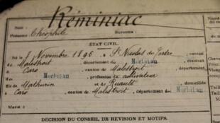 La fiche matricule de Théophile Réminiac aux archives départementales du Morbihan.