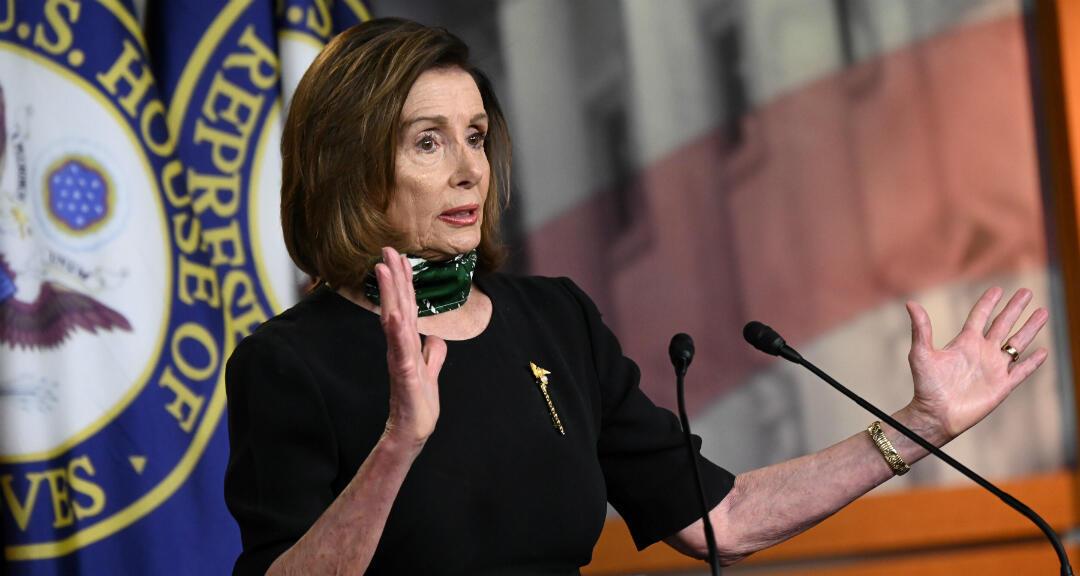 La portavoz de la Cámara de Representantes de EE. UU. y líder de la bancada demócrata, Nancy Pelosi, habla en una sesión del Congreso. Washington, Estados Unidos, el 14 de mayo de 2020.