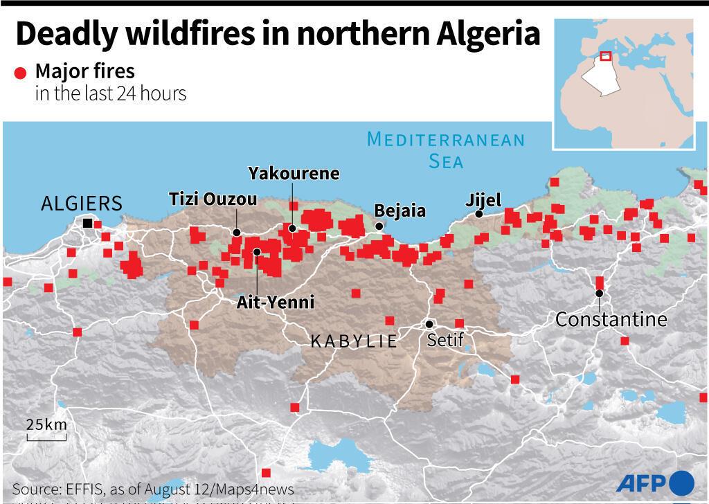 Feu de forêt meurtrier dans le nord de l'Algérie