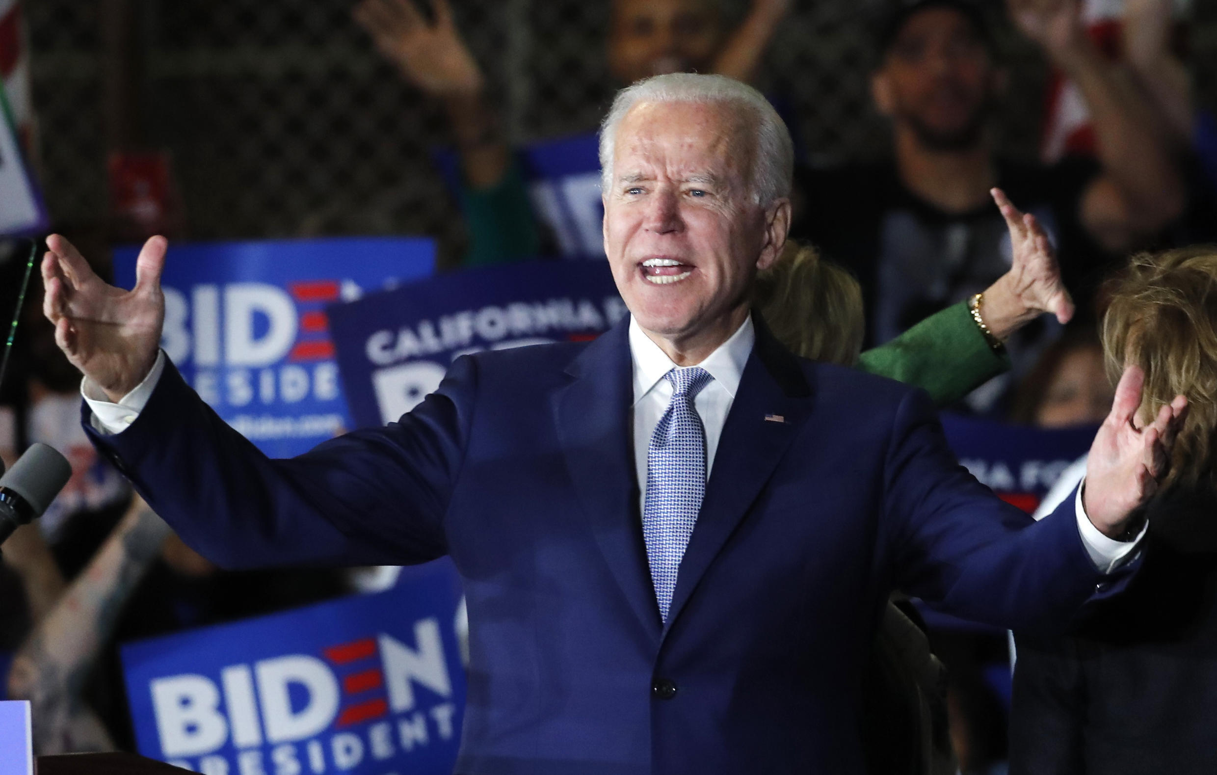 Democratic U.S. presidential candidate and former Vice President Joe Biden addresses supporters at his Super Tuesday night rally in Los Angeles, California, U.S., March 3, 2020.