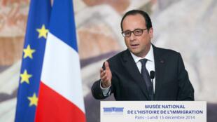 François Hollande a prononcé un discours, lundi 15 décembre, lors de l'inauguration du Musée de l'immigration.