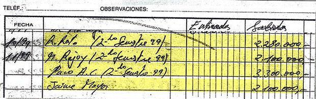 """L'un des fac-similés des comptes secrets tenus par Luis Barcenas, publiés dans """"El Pais""""."""