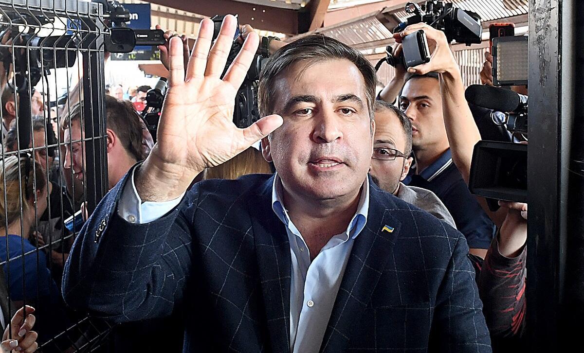 Mikheïl Saakachvili se prépare à franchir la frontière ukrainienne, le 10 septembre 2017.