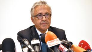 Le patron de la société Autostrade per l'Italia Giovanni Castellucci, en conférence de presse, le samedi 18 août 2018, à Gênes.