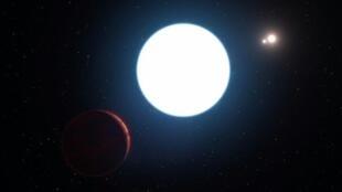 رسم نشره المرصد الأوروبي للشموس الثلاثة حول كوكب اكتشف خارج النظام الشمسي