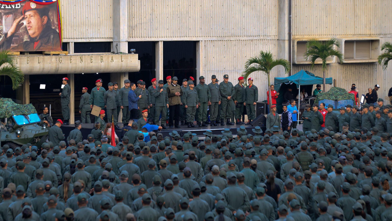 Nicolás Maduro toma parte en un acto de Gobierno con miembros de las Fuerzas Armadas Bolivarianas de Venezuela (FANB) en Caracas, Venezuela, el 2 de mayo de 2019.