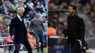 L'entraîneur du Real Madrid Zinedine Zidane (à gauche) et son homologue de l'Atletico Diego Simeone (à droite).