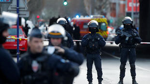 French police secure an area in Villejuif near Paris, France, January 3, 2020 after police shot dead a man who tried to stab several people in a public park.