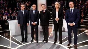 Les cinq premiers candidats dans les sondages, lors du débat présidentiel, lundi 20 mars 2017.