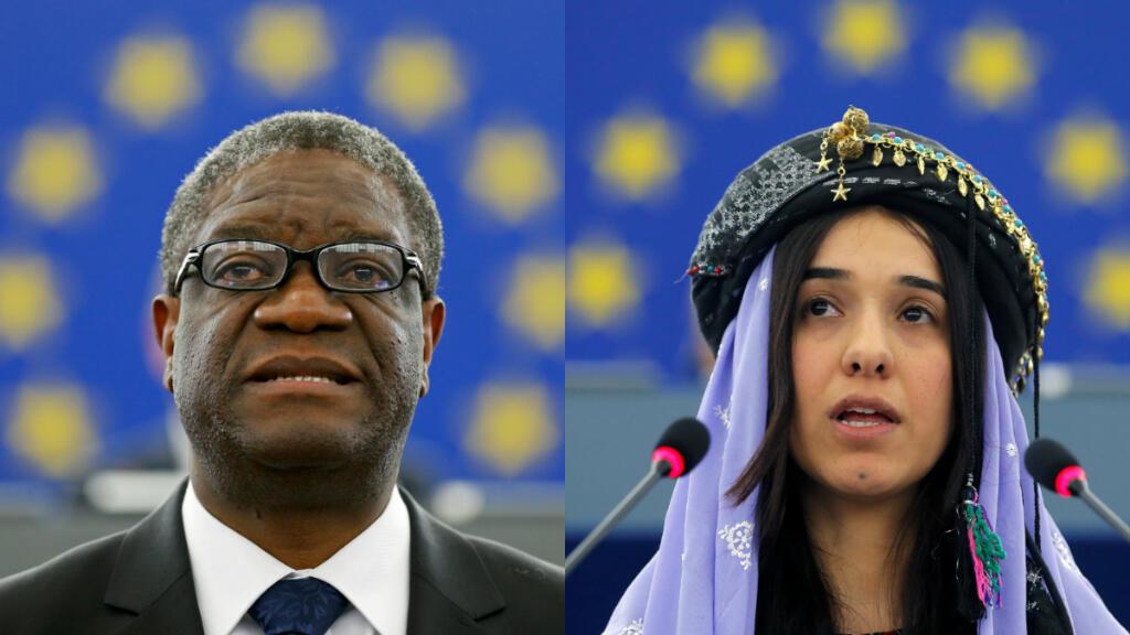 Denis Mukwege pronuncia un discurso durante la ceremonia para recibir el Premio Sájarov 2014, a la derecha, Nadia Murad Basee Taha se dirige al Parlamento Europeo durante la ceremonia de entrega del mismo premio en 2016.