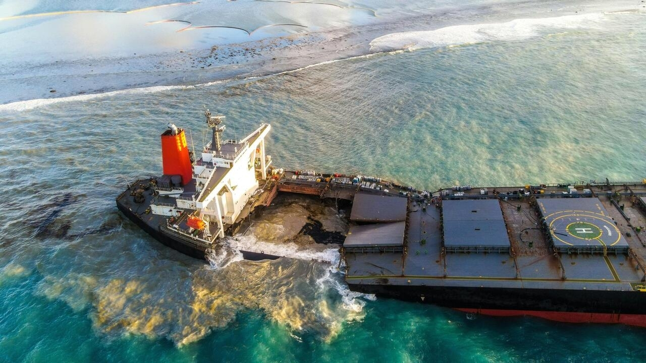 An aerial view taken on August 15, 2020 shows the vessel MV Wakashio, belonging to a Japanese company but Panamanian-flagged that had run aground near Blue Bay Marine Park, Mauritius three weeks ago.