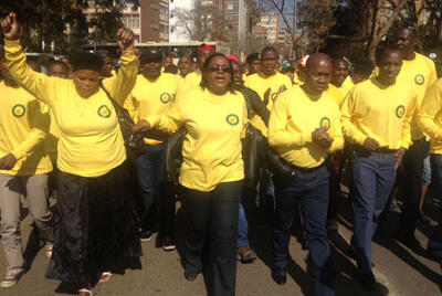 ANC SUPPORTERS GATHER TO SING