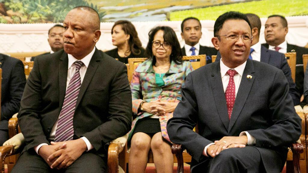 Le Premier ministre malgache Christian Ntsay et le président Hery Rajaonarimampianina, photographiés le 11 juin.