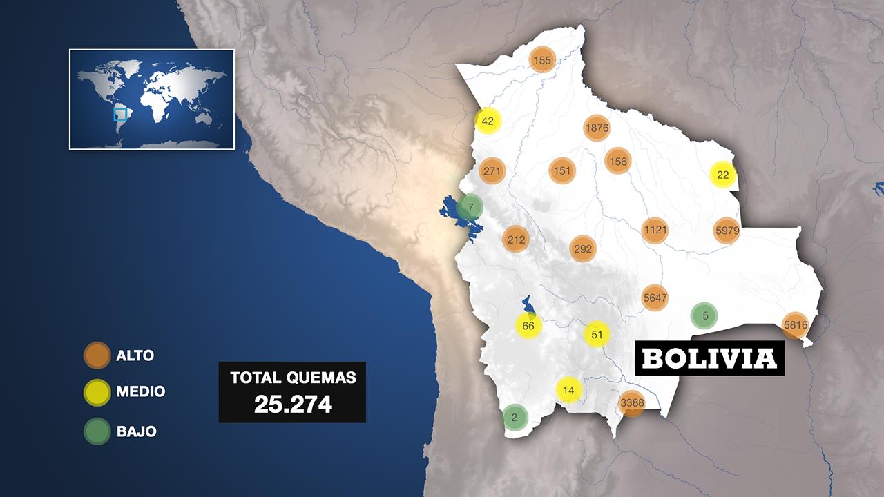 La región de Santa Cruz, en el este de Bolivia, es la que más focos de calor ha presentado entre el 1 de enero y el 6 de mayo, según el informe satelital Aqua_MT del ministerio de Medio Ambiente y Agua.