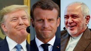 من اليمين إلى اليسار، وزير الخارجية الإيراني ظريف، الرئيس الفرنسي ماكرون، الرئيس الأمريكي ترامب