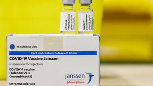 A pack and vials of the single-dose Johnson & Johnson Janssen Covid-19 vaccine photographed on April 30, 2021, at the ZNA Middelheim hospital in Antwerp.