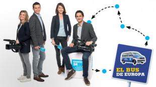 Naïs Guérard, Mohamed Farhat, Karina Chabour y Clovis Casali, los reporteros de France 24 que recorrieron 10 países europeos.