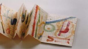 """إيتيل عدنان – """"ذكر""""، كتاب فني. حبر وقلم وألوان مائية على ورق"""