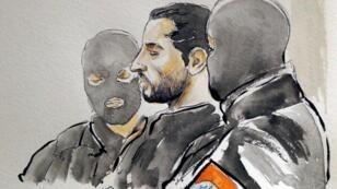 Retrato de Mehdi Nemmouche durante su proceso en Bruselas, el 7 de marzo de 2019.
