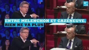 Jean-Luc Mélenchon ( à g.) et Bernard Cazeneuve.
