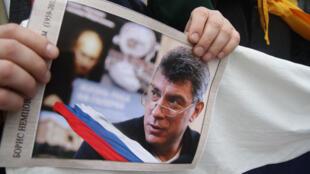 Marche en mémoire de l'opposant russe Boris Nemtsov en mars 2015.