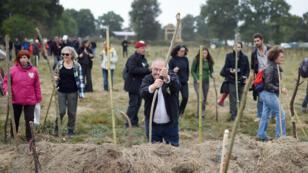 Des manifestants de tous âges ont planté des bâtons pour marquer leur détermination contre le projet d'aéroport de Notre-Dame des Landes, le 8 octobre 2016.