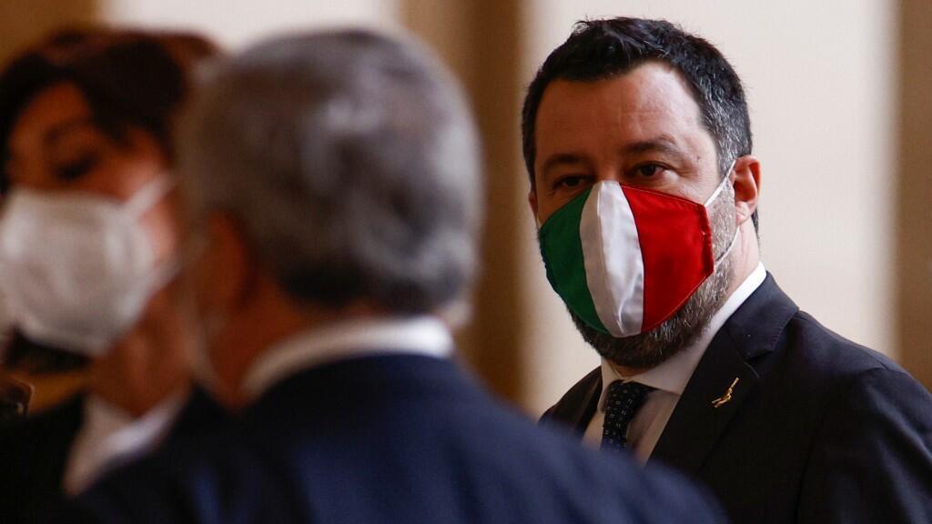 El líder del partido italiano La Liga, Matteo Salvini, pidió al presidente Sergio Mattarella convocar elecciones tras su reunión en el palacio Quirinale, en Roma, el 29 de enero de 2021.