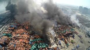 Vue aérienne du site de l'explosion, au lendemain de la catastrophe.