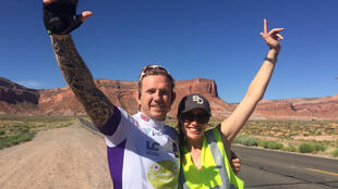 Former Welsh international rugby player Alix Popham (left) and his wife Mel photographed in Monument Valley, Arizona