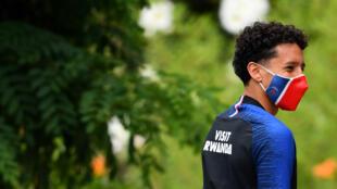 Marquinhos, le défenseur brésilien du PSG, arrive à l'entraînement au Camp des Loges le 2 juillet 2020 à Saint-Germain-en-Laye pr_s de Paris