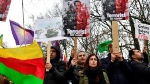تظاهرة للأكراد ضد الرئيس التركي بالعاصمة الألمانية برلين في 26 يناير/ كانون الثاني 2018