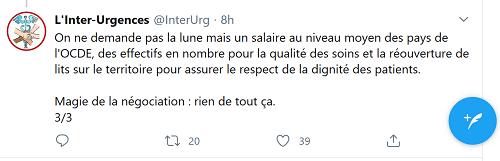 Tweet d'Inter Urgences.