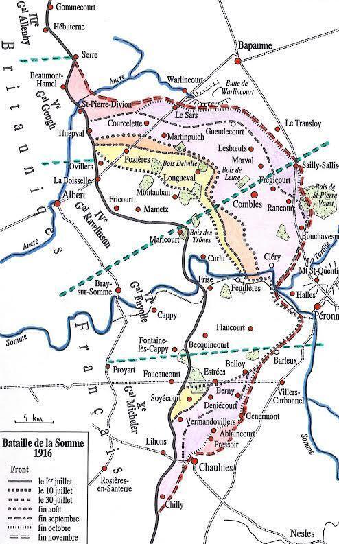 Le front de la Somme du 1er juillet à fin novembre 1916